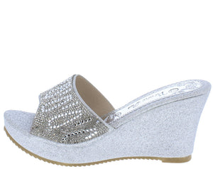 7a0ef2fee38 Ella052 Silver Sparkle Open Toe Low Platform Mule Wedge - Wholesale Fashion  Shoes