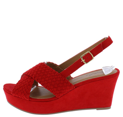 Ebbe33 Red Women's Wedge - Wholesale Fashion Shoes