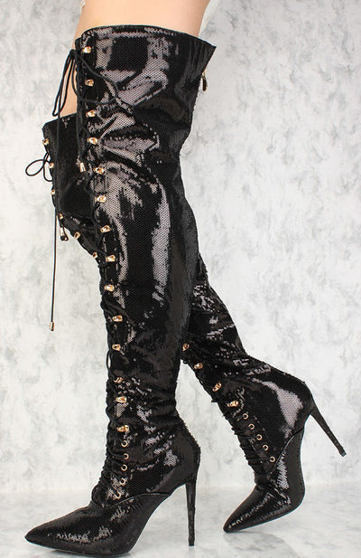 Carter Black Pointed Toe Sequin Over the Knee Boot - Wholesale Fashion Shoes