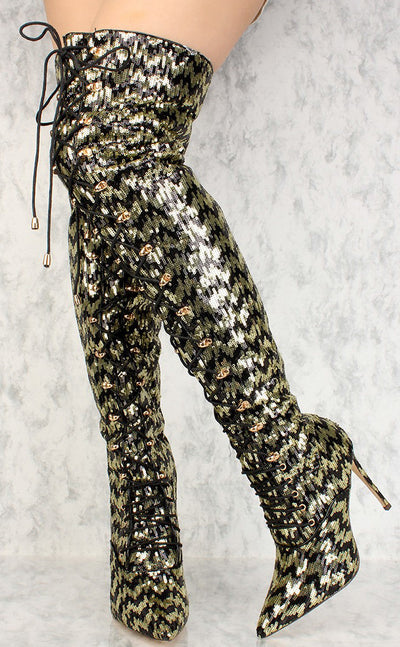 Carter Black Gold Pointed Toe Dual Tone Sequin Chevron Over the Knee Boot - Wholesale Fashion Shoes