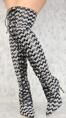 CARTER BLACK WHITE POINTED TOE DUAL TONE SEQUIN CHEVRON OVER THE KNEE BOOT - Wholesale Fashion Shoes