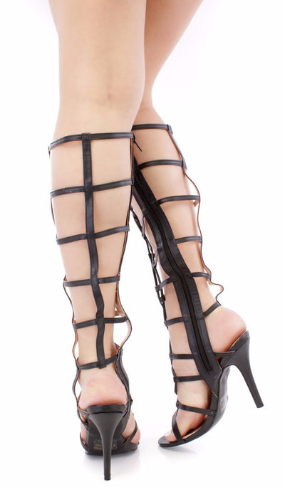 Jody Black Caged Open Toe Lace Up Knee High Boot - Wholesale Fashion Shoes