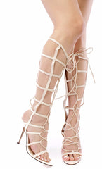 Jody Nude Caged Open Toe Lace Up Knee High Boot - Wholesale Fashion Shoes