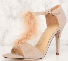 ALYSSA01 NUDE OPEN TOE FUZZY T-STRAP STILETTO HEEL - Wholesale Fashion Shoes