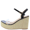 Ella11 Black Lucite Open Toe Slingback Espadrille Wedge - Wholesale Fashion Shoes