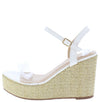Ella11 White Lucite Open Toe Slingback Espadrille Wedge - Wholesale Fashion Shoes