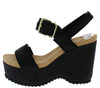 Eloise07 Black Nubuck Open Toe Slingback Chunky Lug Heel - Wholesale Fashion Shoes