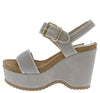 Eloise07 Stone Nubuck Open Toe Slingback Chunky Lug Heel - Wholesale Fashion Shoes
