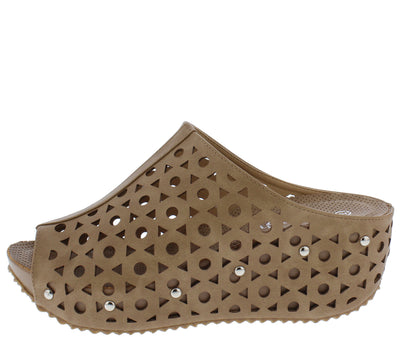 Elva07 Taupe Women's Wedge - Wholesale Fashion Shoes