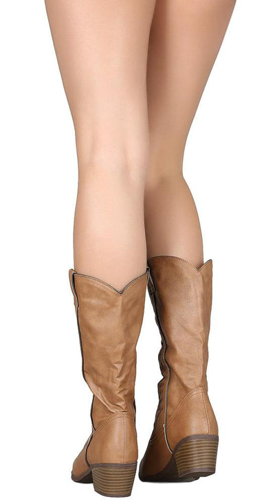 Ember11 Taupe Front Stitch Pull On Cowboy Boot - Wholesale Fashion Shoes