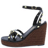 Emelia1 Black Studded Strappy Open Toe Espadrille Wedge - Wholesale Fashion Shoes