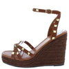 Emelia1 Cognac Studded Strappy Open Toe Espadrille Wedge - Wholesale Fashion Shoes