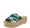 Emerson04 Green Multi Fabric Cut Out Open Toe Platform Slide Wedge - Wholesale Fashion Shoes