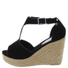 Emery02 Black Peep Toe T Strap Platform Espadrille Wedge - Wholesale Fashion Shoes