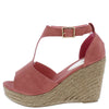Emery02 Coral Peep Toe T Strap Platform Espadrille Wedge - Wholesale Fashion Shoes