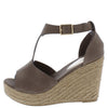 Emery02 Mocha Peep Toe T Strap Platform Espadrille Wedge - Wholesale Fashion Shoes