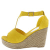 Emery02 Yellow Peep Toe T Strap Platform Espadrille Wedge - Wholesale Fashion Shoes