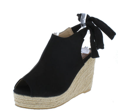 Emery03 Black Peep Toe Cut Out Tie Back Espadrille Wedge - Wholesale Fashion Shoes