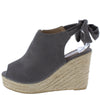 Emery03 Grey Peep Toe Cut Out Tie Back Espadrille Wedge - Wholesale Fashion Shoes