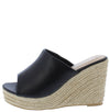 Emery04 Black Open Toe Slide Espadrille Platform Wedge - Wholesale Fashion Shoes