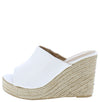 Emery04 White Open Toe Slide Espadrille Platform Wedge - Wholesale Fashion Shoes