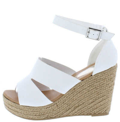 Emery07 White Cut Out Open Toe Platform Espadrille Wedge - Wholesale Fashion Shoes