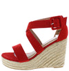 Emery08 Red Women's Wedge - Wholesale Fashion Shoes