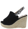 Emery10 Black Peep Toe Snake Slingback Espadrille Wedge - Wholesale Fashion Shoes