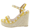 Evgenia1 Mustard Gingham Platform Espadrille Wedge - Wholesale Fashion Shoes