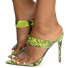 Exception31 Neon Yellow Lucite Dual Strap Stiletto Mule Heel - Wholesale Fashion Shoes