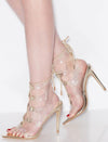 Exception35 Gold Lucite Cut Out Ghillie Lace Up Stiletto Heel - Wholesale Fashion Shoes