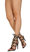 Exception35 Snake Lucite Cut Out Ghillie Lace Up Stiletto Heel - Wholesale Fashion Shoes