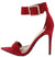 Exception51 Red Pointed Open Toe Ankle Strap Heel