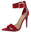 Exception51 Red Pointed Open Toe Ankle Strap Heel - Wholesale Fashion Shoes