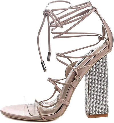 Exotic Nude Ghillie Strappy Open Toe Rhinestone Block Heel - Wholesale Fashion Shoes