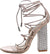 Exotic Nude Ghillie Strappy Open Toe Rhinestone Block Heel