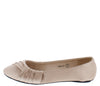 Fancy07 Beige Satin Pleated Round Toe Ballet Flat - Wholesale Fashion Shoes
