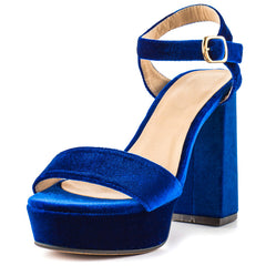 SOPHIE BLUE VELVET OPEN TOE SLINGBACK ANKLE STRAP PLATFORM HEEL - Wholesale Fashion Shoes - 2