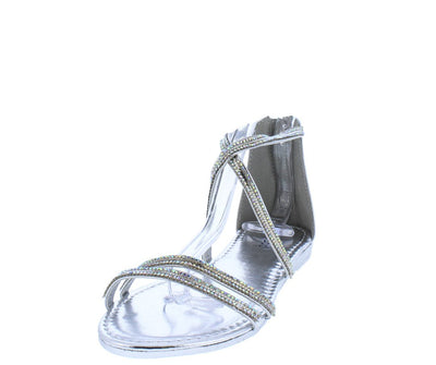 Feather03s Silver Metallic Rhinestone Open Toe Cross Strap Sandal - Wholesale Fashion Shoes