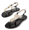 Alexa276 Black Jeweled T Strap Slingback Thong Sandal - Wholesale Fashion Shoes