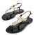 Alexa276 Black Jeweled T Strap Slingback Thong Sandal