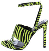 Fern Zebra Thong Open Toe Cross Back Ankle Strap Heel - Wholesale Fashion Shoes