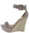 Flower17x Taupe Suede Open Toe Platform Espadrille Wedge - Wholesale Fashion Shoes