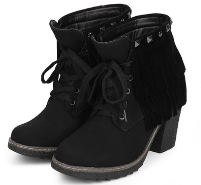Forest03 Black Lace Up Dual Fringe Stud Rugged Textured Heel Ankle Boot - Wholesale Fashion Shoes