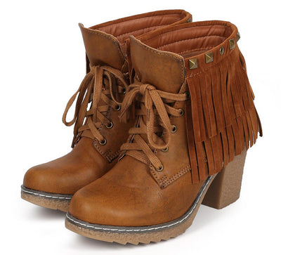 Forest03 Tan Lace Up Dual Fringe Stud Rugged Textured Heel Ankle Boot - Wholesale Fashion Shoes