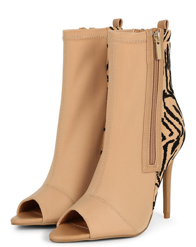 Frasier75x Tan Peep Toe Two Tone Stiletto Boot - Wholesale Fashion Shoes