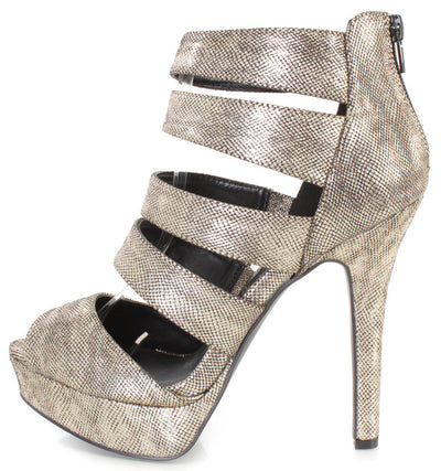Gaze452 Champagne Metallic Open Toe Reptile Embossed Multi Strap Platform Heel - Wholesale Fashion Shoes