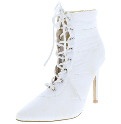 Gigi135 White Quilted Puffer Lace Up Stiletto Ankle Boot - Wholesale Fashion Shoes