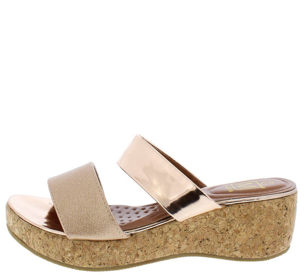 fbbd43335 Glam3 Rose Gold Mirror Dual Strap Open Toe Mule Cork Wedge