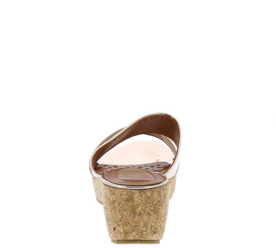 Glam3 Rose Gold Mirror Dual Strap Open Toe Mule Cork Wedge - Wholesale Fashion Shoes
